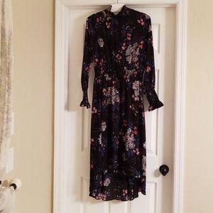 NWOT Nanette Lepore Smocked Neck Hi Lo Dress
